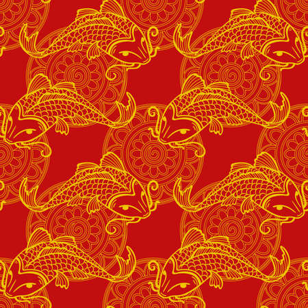 Vector seamless red and yellow pattern with japanese carps koi - symbol of luck, love and independence