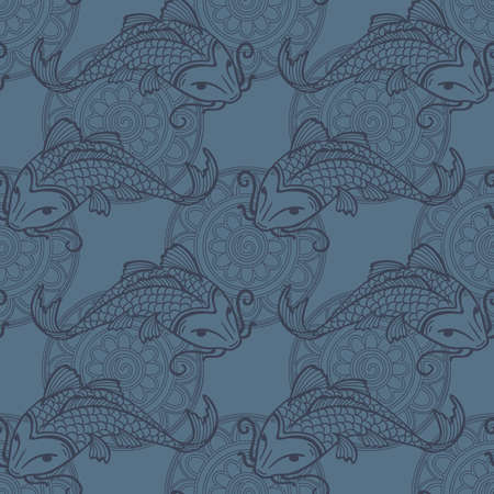coi carp: Vector seamless blue pattern with japanese carps koi - symbol of luck, love and independence