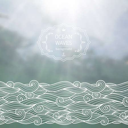 at sea: Vector blurred background with sea landscape and hand drawn sketch waves