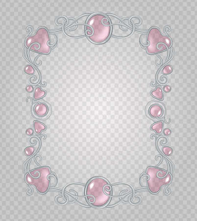 cabochon: Vector transparent glass and gems decorative metal frame on demonstrative transparent gray grid background - silver vertical light vignette with baby pink stones and drops