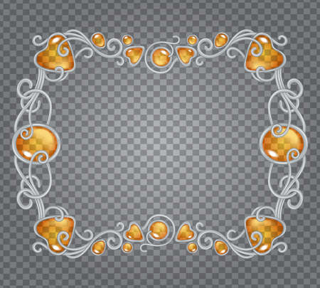 Vector transparent glass and gems decorative metal frame on demonstrative transparent gray grid background - silver horizontal fantasy vignette with amber yellow stones and drops Illustration