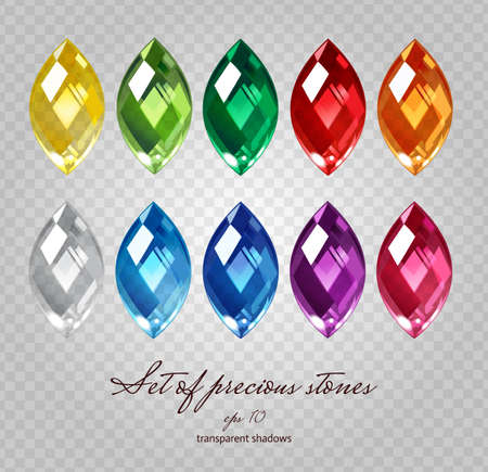Crystals icons set of 10 colors - precious jewelry stones collection on demonstrative transparent gray grid Vectores