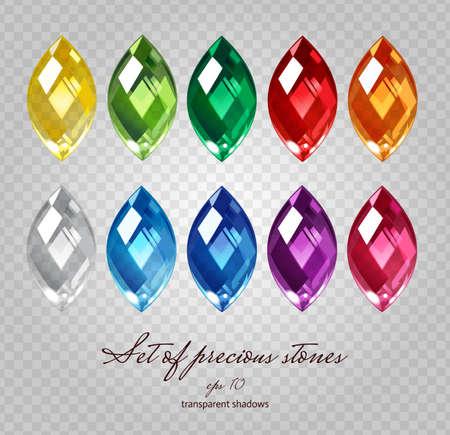 Kryształy ikony zestaw 10 kolorów - drogocenną kolekcję biżuterii kamienie na demonstracyjnym przezroczystej siatki szary