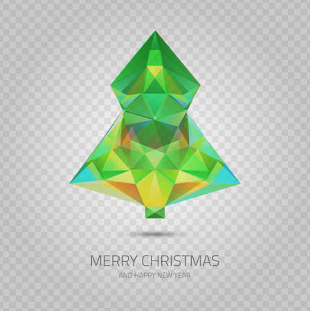 demonstrative: Vector crystal Christmas tree - hipster modern triangle geometric style transparent icon upon demonstrative gray grid Illustration