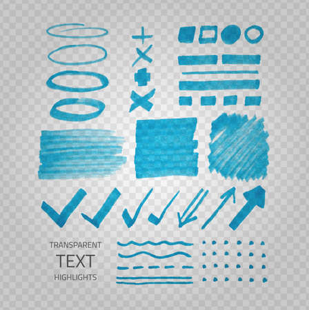 demonstrative: Vector collection of highlighter marker spots and signs, hand drawn decorative symbols, transparent elements on demonstrative gray grid