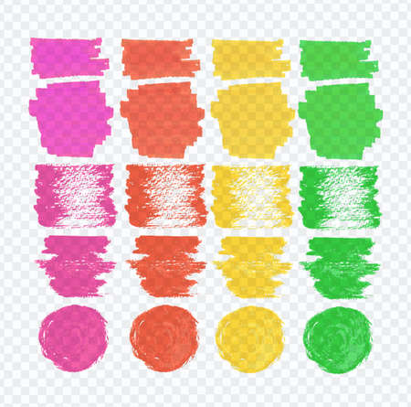 transparence: Vector set of transparent highlighter marks, green, red, pink, yellow colors on transparence demonstrative gray grid