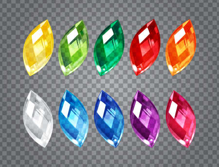 Set of transparent gem stones on demonstrative gray grid Ilustrace