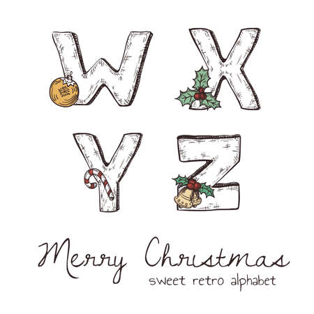 w: Vector retro christmas alphabet with symbols of holiday isolated in white - w, x, y, z