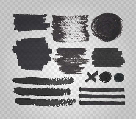 felt tip: Vector set of transparent felt tip pen spots, stroke and marks, black paint and ink decorative elements, on transparent grid background Illustration