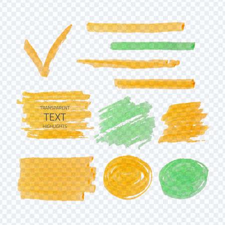 Vector set of transparent highlighter marks, orange and green on demonstrative gray grid Ilustrace