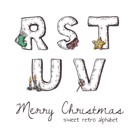 u s: Vector retro christmas alphabet with symbols of holiday isolated in white - r, s, t, u, v Illustration
