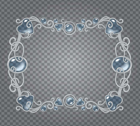 demonstrative: Vector transparent glass and gems decorative metal frame on demonstrative transparent gray grid background - silver horizontal fantasy vignette with baby blue stones and drops