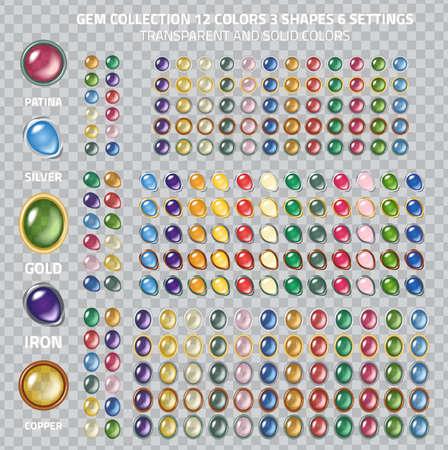 Large gems icons collection - set of 250 gem and glass buttons, different shapes, settings and transparency collection Illustration