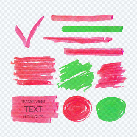 Vector set of transparent highlighter marks, pink and green on demonstrative gray grid
