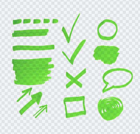 highlighter: Transparent green highlighter marks on gray grid