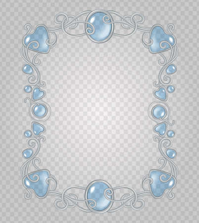 Vector transparent glass and gems decorative metal frame on demonstrative transparent gray grid background - silver vertical light vignette with baby blue stones and drops