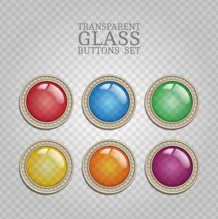 illuminator: Set of vector glass transparent button in metal frame, round color icon element for web, game interface, steampunk scrapbooking decoration with realistic transparent glass lens and shadow on demonstrative gray grid