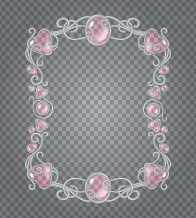artnouveau: Vector transparent glass and gems decorative metal frame on demonstrative dark gray grid background - silver vertical light vignette with baby pink stones and drops Illustration