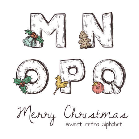 o': Vector retro christmas alphabet with symbols of holiday isolated in white - n, m, o, p, q