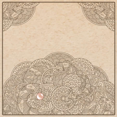 authentic: Vector illustration of authentic oriental dragon with pearl ink drawing on parchment paper card background
