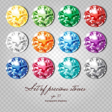 Crystals icons set of 12 colors - precious jewelry stones collection upon demonstrative gray grid, transparent shadows