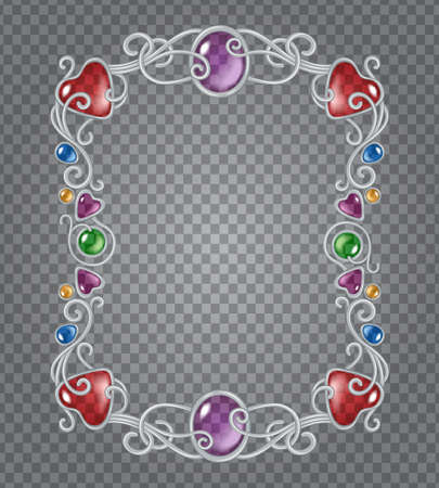 artnouveau: Vector transparent glass and gems decorative metal frame on demonstrative gray grid background - silver vertical fantasy vignette with precious color stones and drops
