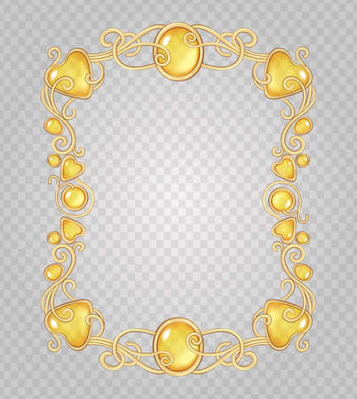 Vector transparent glass and gems decorative metal frame on demonstrative transparent gray grid background - gold vertical fantasy vignette with amber yellow stones and drops