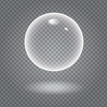 demonstrative: Glow white transparent bubble with light transparent shadow and reflection, shiny sphere upon demonstrative dark gray grid background Illustration