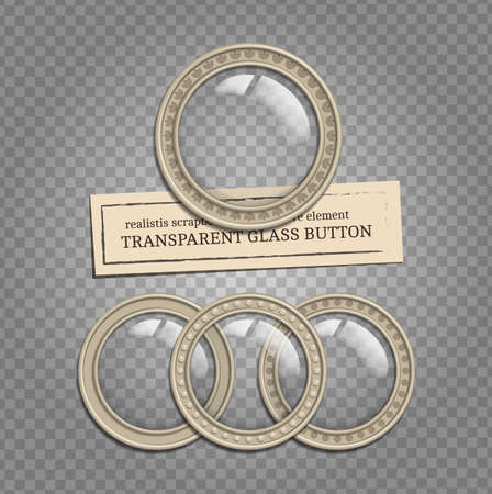 Set of vector glass transparent button in metal frame, round illuminator like icon element for web, game interface and steampunk scrapbooking decoration - with realistic transparent shadow on demonstrative transparent grid Illustration