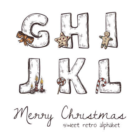 h: Vector retro christmas alphabet with symbols of holiday isolated in white - g, h, j, k, l, i