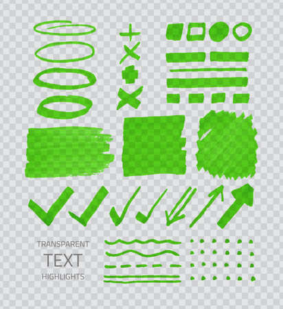 demonstrative: Vector collection of green highlighter marker spots and signs, hand drawn decorative symbols, transparent elements on demonstrative gray grid