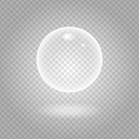 glass sphere: Glow white transparent bubble with light transparent shadow and reflection, shiny sphere upon demonstrative gray grid background