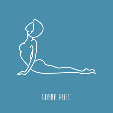 anahata: Yoga pose flat line icon, simple sign of woman in cobra pose, white outline icon isolated on blue - vector asana for anahata chakra, design elements for yoga and meditation center Illustration