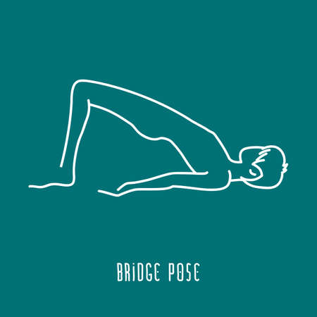 pose: Yoga pose flat line icon, simple sign of man in bridge pose, white outline icon isolated on green - vector asana for vishuddha chakra, design elements for yoga and meditation school