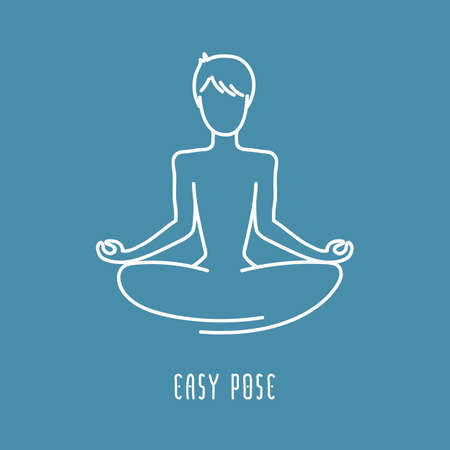 meditation man: Yoga pose flat line icon, simple sign of man in easy pose, white outline icon isolated on navy blue - vector asana for ajna chakra, design elements for yoga and meditation school Illustration