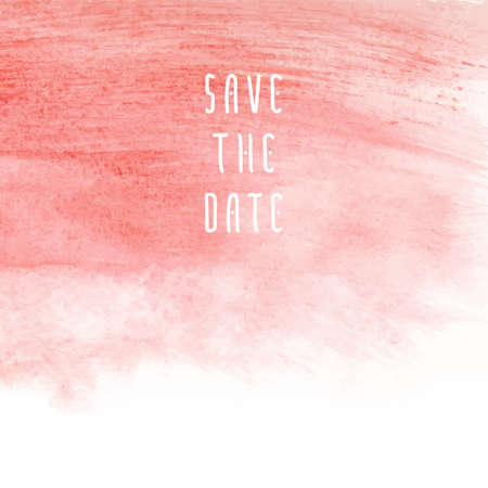 Save the date vector template for cards, hand drawn watercolor pink background brush stroke - invitations, posters, cards template - peach pink brush strokes and flat line typographic elements. Vettoriali