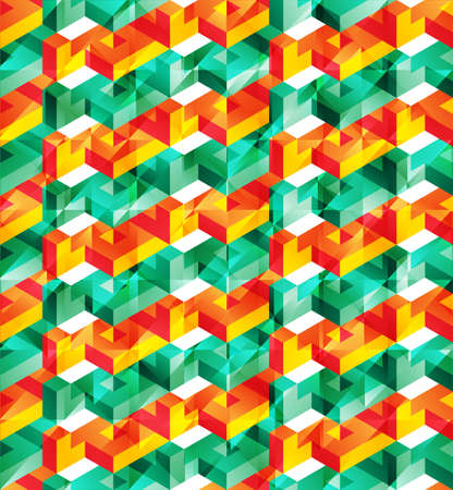 glitch: Vector lowpoly isometric geometric pattern with shiny glitch effect