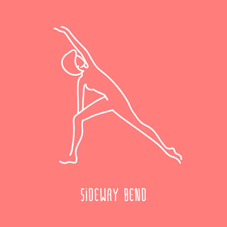 sideway: Vector yoga pose flat linear asana icon, simple sign of woman in sideway bend pose, white outline icon isolated on pink, fitness and sport illustration Illustration