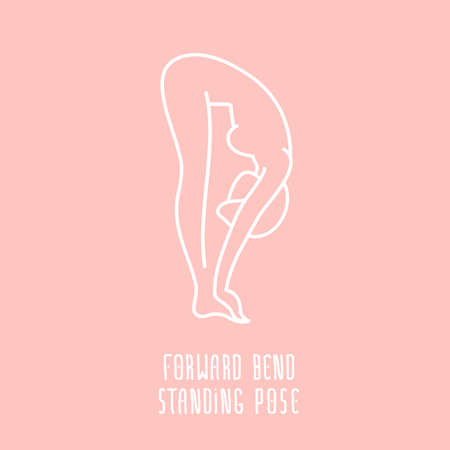 bend: Vector yoga pose flat linear asana icon, simple sign of woman in standing forward bend pose, white outline icon isolated on pink, fitness and sport illustration