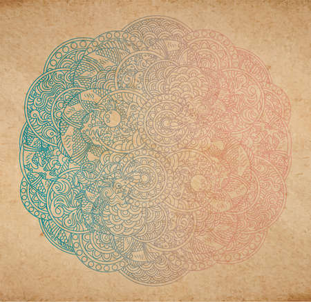 Vector illustration of chinese traditional dragons with pearl ornament - round circle ornate rosette with scale, waves and other ancient asian ornament elements, vintage old paper texture and faded gradient colors