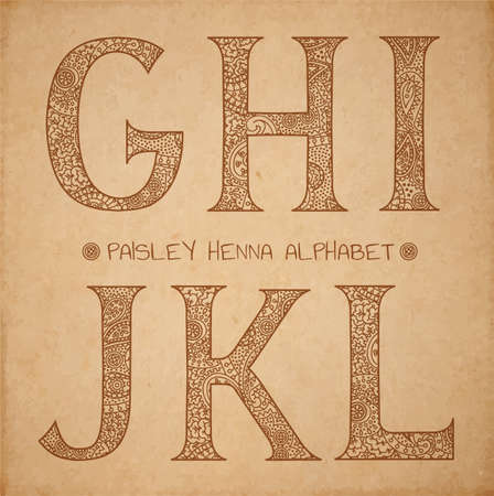 l: Paisley henna alphabet, vector uppercase ornated letters on realistic old parchment background - g,h,i,j,k,l