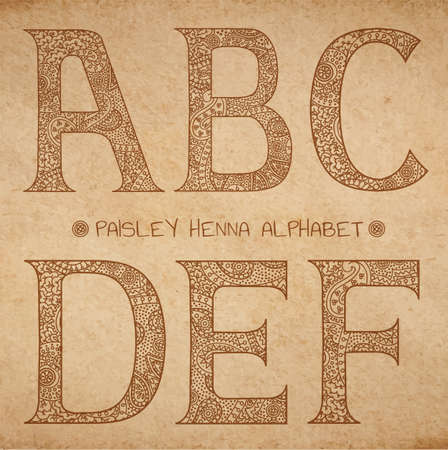 altes pergament: Paisley henna alphabet, vector uppercase ornated letters on realistic old parchment background - a,b,c,d,e,f