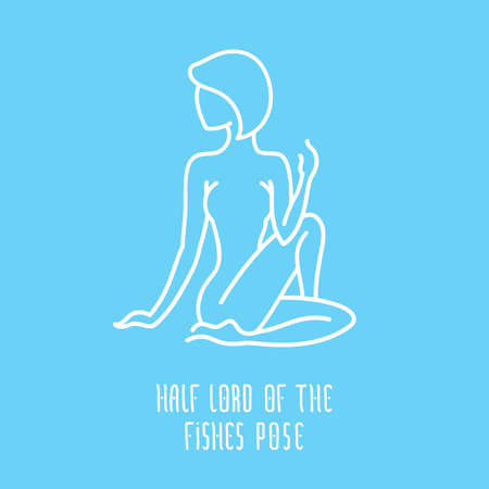 manipura: Yoga pose flat line icon, simple sign of woman in half lord of the fishes pose, white outline icon isolated on baby blue - vector asana for manipura chakra, design elements for yoga and meditation practice