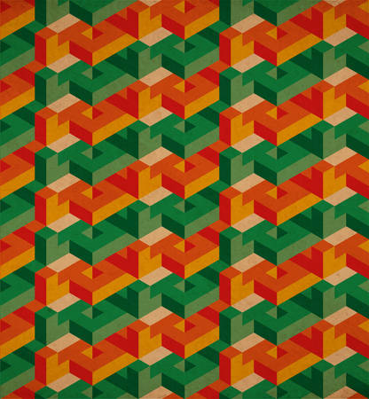 vintage paper: Vector lowpoly isometric geometric pattern with old grunge postapocalyptic paper effect