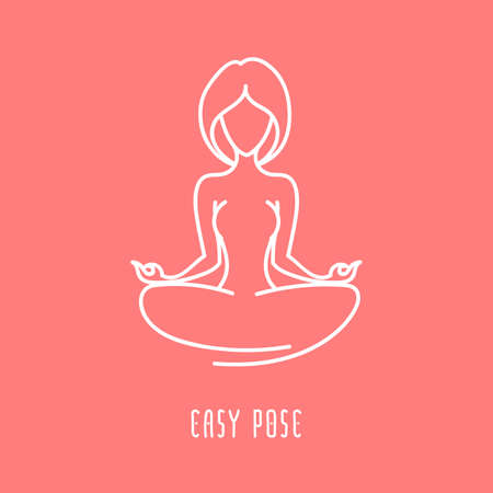 Yoga pose flat line icon, simple sign of woman in easy pose, white outline icon isolated on peach pink - vector asana for ajna chakra, design elements for yoga and meditation school Illustration