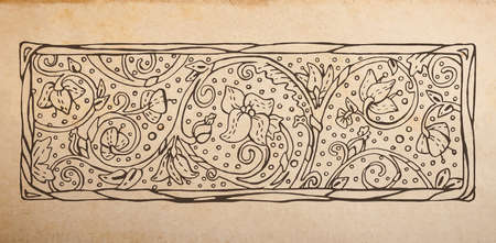 devider: Vintage old paper texture background with floral ornamental border vignette, scrapbooking victorian style decorative devider element, hand drawn vector illustration