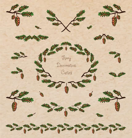twigs: Vector set of cute pine tree twigs decorative elements, borders and vignettes made of fir tree cones and branches for cards and design on realistic cardboard paper background