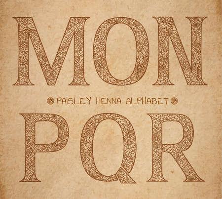 ornated: Alfabeto henn� paisley, vettore maiuscolo lettere ornated su realistica sfondo pergamena antica - M, O, n, p, q, r