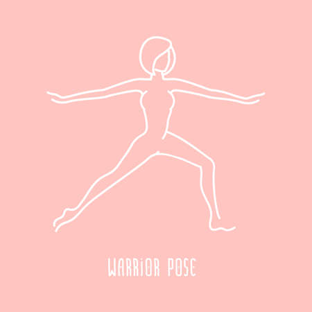 warrior pose: Vector yoga pose flat linear asana icon, simple sign of woman in warrior pose, white outline icon isolated on pink, fitness and sport illustration Illustration