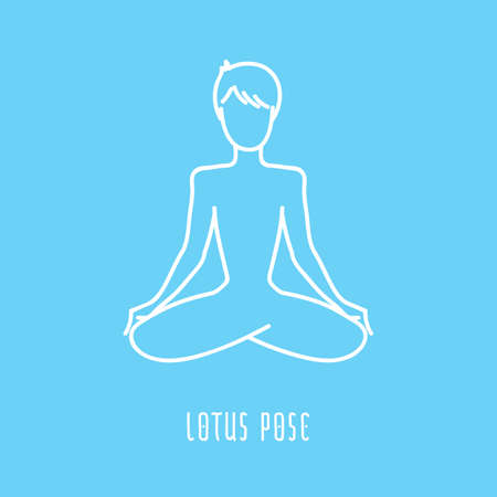sahasrara: Yoga pose flat line icon, simple sign of man in easy pose, white outline icon isolated on baby blue - vector asana for sahasrara chakra, design elements for yoga and meditation school